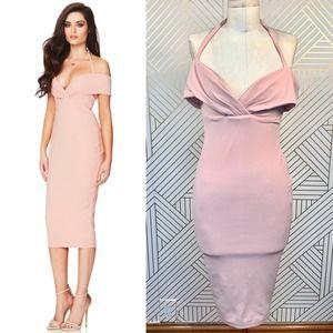 Nookie Athena Off Shoulder Midi Dress in Blush